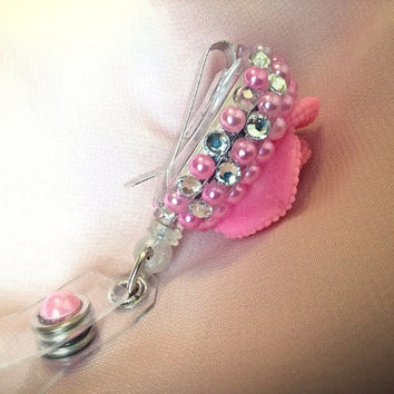 Pink flower bling retractable ID badge holder, badge clip, lanyard accessory, badge reel