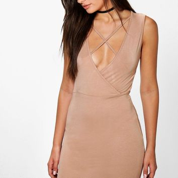 Elizabeth Strappy Wrap Front Mini Dress | Boohoo