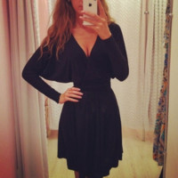 Black V-Neck Loose Sleeved Dress