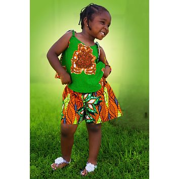 African Prints  Kids Tausi Shorts And Top Set- Green/Orange Floral Print
