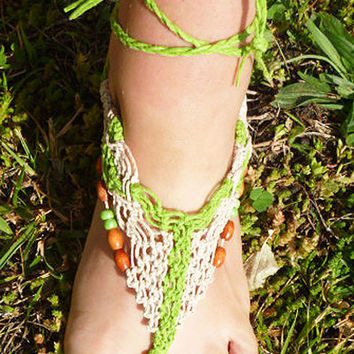 Hemp Barefoot Sandals  handmade macrame  hippie  girls womens  summer beach   bottomless sandals
