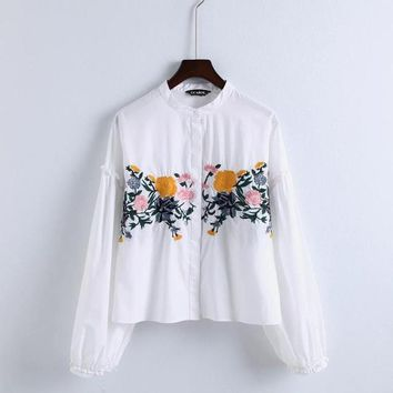 Floral Women Blouse Standard Collar Lantern Sleeve Joker Shirt  Quality Oversize Crop Top For Ladies