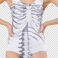 Top Sale one piece bikini swimwear women Skull bone Ribs White