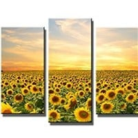 Wieco Art - Sunflowers Modern 5 Panels Stretched and Framed Giclee Canvas Prints Artwork Landscape Pictures Paintings on Canvas Wall Art Ready to Hang for Living Room Bedroom Home Office Decorations