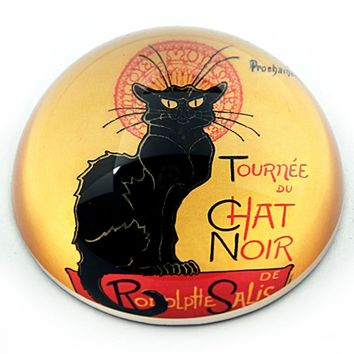 Black Cat Le Chat Noir Glass Paperweight by Steinlen