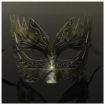 UESH-1 pcs Men's Masquerade Mask Ball Masks Stag Party Fancy Dress Venetian Eye Face Sawtooth Carved Gold