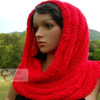 Hand Knit Red Cowl
