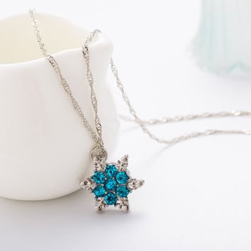 2016 Charm Vintage lady Blue Crystal Snowflake Zircon Flower Silver Necklaces & Pendants