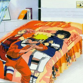 teenage teen naruto bedding set bed covers cotton fabric textile print flat sheets Single Twin size duvet covers bedclothes boys