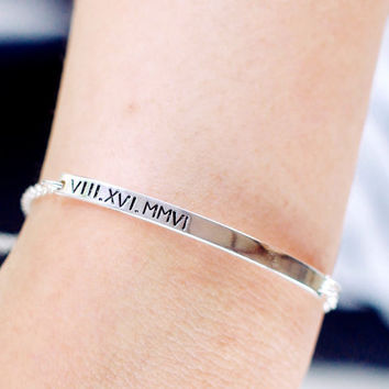 Roman Numeral Bracelet with Hidden Message - Date Bracelet - Handmade with Sterling silver - Anniversary gifts/ Birthday gifts