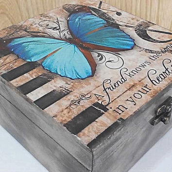 Jewelry box wood, jewelry storage, Blue butterfly box, jewelry box, gift box, unique box, wooden box, box butterfly