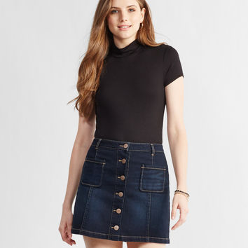 Prince & Fox Button Front Dark Wash Denim Skirt