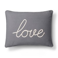 Love Decorative Pillow- Gray