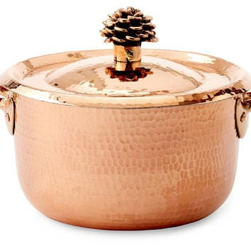 Copper Saucepan w/ Flower Lid, S