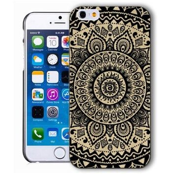 ChiChiC Iphone case, i phone 6 case, iphone6 case,iphone 6 case,iphone 6 4.7 cases, plastic cases back cover skin protector, geometric black mandala wood grain
