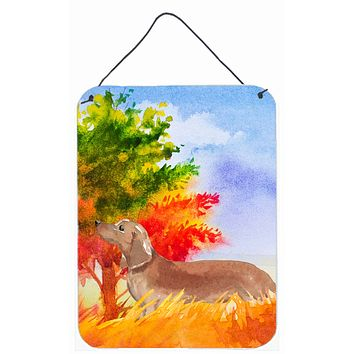 Fall Red Dachshund Wall or Door Hanging Prints CK1932DS1216