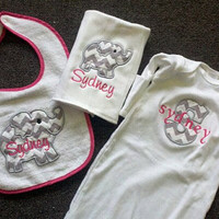 Personalized Baby Gown, Baby Bib and Burp Cloth Matching Baby Set Baby shower gift Monogrammed with