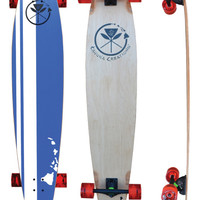 "Retro Blue 48"" Beach Longboard Complete - New Hawaiian Island Design"