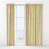 Mint and Pink Lines Pattern Window Curtains by Paula Oliveira