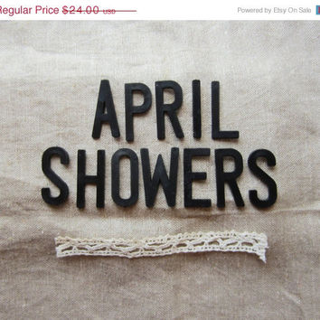 "ON SALE Vintage 'APRIL Showers' Black Point Back Bulletin / 2"" Cork Board Letters"