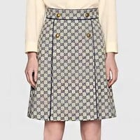 GUCCI Classic Trending Women Stylish Double G Jacquard High Waist A-Line Skirt