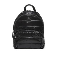 Black Patent Quilted Backpack by Moncler