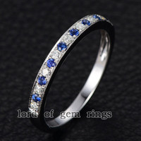 Moissanite Blue Sapphire Wedding Band Eternity Ring 14K White Gold,Stackable