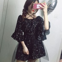 Summer Girls Black Constellation Lolita Halter Dress