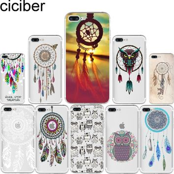 ciciber Dream Catcher Lovely Owls Pattern Soft Silicone Phone Cases Cover for Iphone 7 6 6S 8 Plus 5S SE X Capinha Coque Fundas