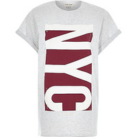 River Island Womens Grey NYC oversized t-shirt