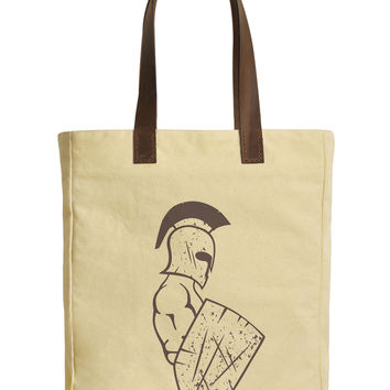 Spartan Warrior Beige Printed Canvas Tote Bags Leather Handles WAS_30