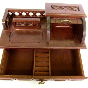 Wood Roll Top Jewelry Box Mens Valet Jewelry Chest