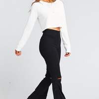 Cher Crop Sweater ~ Cozy White