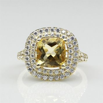 Double Halo Cushion Cut 2.5CT Natural Citrine Center Gemstone Pave Diamond 10k Yellow Gold Engagement Ring (CFR0019-GEM2.5CT)