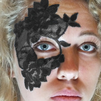 Masquerade Mask Lace Halloween Tattoo - Blue Pink White Black - Adheres to Skin
