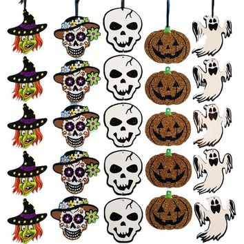Halloween Paper Pendant Ghost Witch Pumpkin Layout Props Night Hanging Ornaments for Party Halloween DIY Decoration