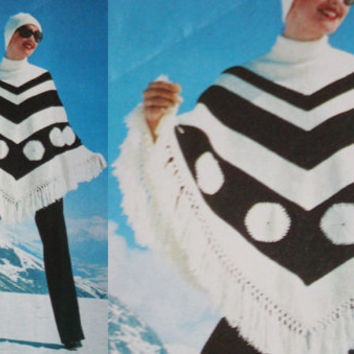 Striped Poncho Vintage pattern PDF Instant Download Coat Jacket Vintage Crochet Poncho Afghan blue cape knit Pattern pdf Download knitting