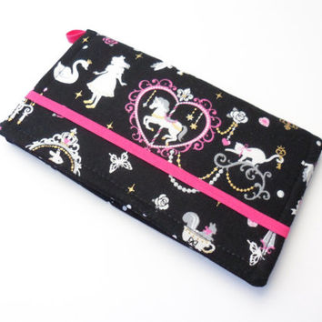 Alice in Wonderland Wallet ,Fabric iPhone Clutch, Fairy Tale Passport - Pink and Black