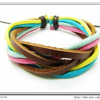 Multicolour Cotton Rope Woven Bracelets Adjustable Leather Bracelet  Ropes Bracelet 537S