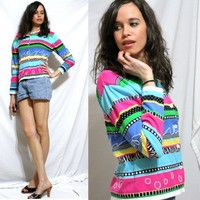 Vintage sweater ENGLAND Womens FISHER HILL slouch top multi color pink blue green S