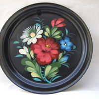 Hand painted metal plate / Tin / Wall hanging / Multi color / Vintage / Hand Painted / Floral / Made in Poland / Antique / Home decor