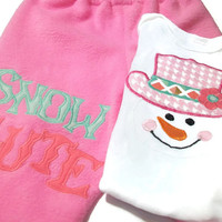 Baby Girl Christmas Outfit, Snowman Baby Clothes, Girls'Holiday Clothing, Pink Snowman, Baby Girl Snowman Clothes,Size 3 - 6 Month Baby Girl