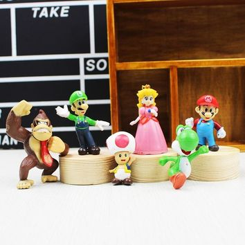 Super Mario party nes switch 6pcs/set  Bros figure Luigi Peach Yoshi King Kong Toad Action Figure PVC cartoon Toy Dolls AT_80_8