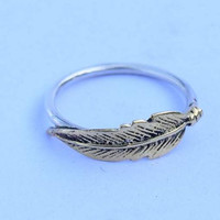 leaf ring ,feather silver ring,  silver  ring, stone ring, 92.5 sterling silver,brass leaf ring,nature jewellry,