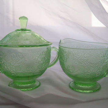 Vintage Green Depression Glass Cream and Sugar 3pc Set Footed Covered Sugar Bowl with Lid and Creamer
