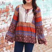 Fall Spice Sequin Peasant Blouse {Brown Mix}