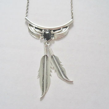Vintage Onyx Squash Blossom Feather Necklace Sterling Kay Begay Rogers Navajo