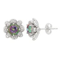 Mystic Topaz & Lab-Created White Sapphire Sterling Silver Flower Stud Earrings
