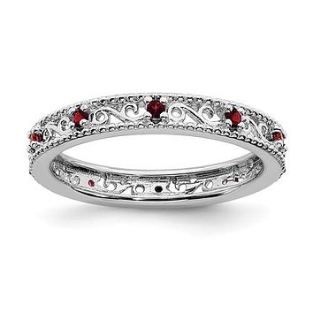 Sterling Silver Stackable Expressions Garnet Filigree Ring