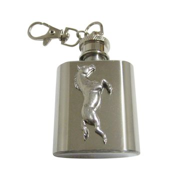 Silver Toned Textured Horse 1 Oz. Stainless Steel Key Chain Flask